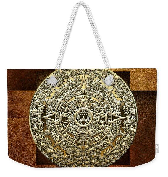 Gold Mayan-aztec Calendar On Brown Leather Weekender Tote Bag