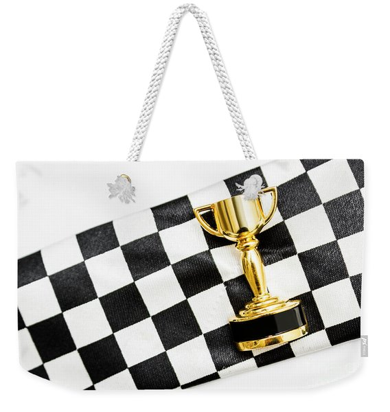 Gold Trophy On A Checked Sport Flag Weekender Tote Bag
