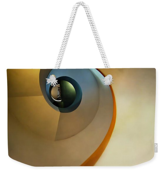 Weekender Tote Bag featuring the photograph Golden And Brown Spiral Staircase by Jaroslaw Blaminsky