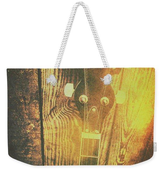 Golden Banjo Neck In Retro Folk Style Weekender Tote Bag