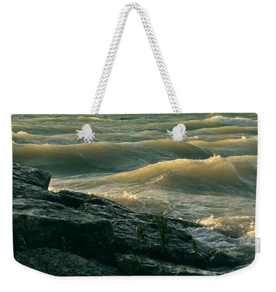 Golden Capped Sunset Waves Of Lake Michigan Weekender Tote Bag
