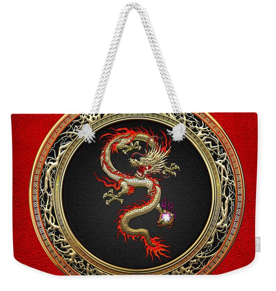 Golden Chinese Dragon Fucanglong On Red Leather  Weekender Tote Bag