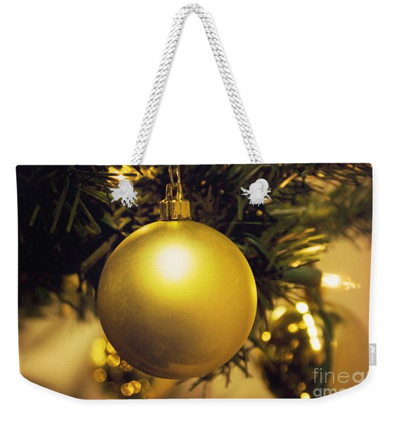 Golden Christmas Ornaments Weekender Tote Bag