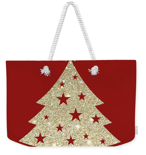 Golden Christmas Tree Weekender Tote Bag