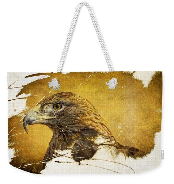 Golden Eagle Grunge Portrait Weekender Tote Bag