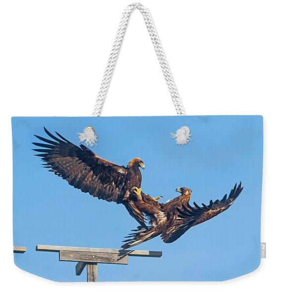 Golden Eagle Courtship Weekender Tote Bag