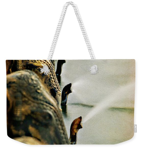 Golden Elephant Fountain Weekender Tote Bag