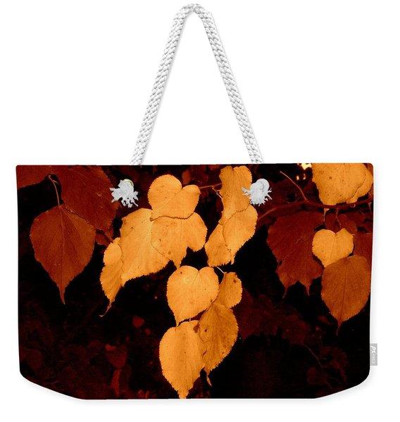 Golden Fall Leaves Weekender Tote Bag