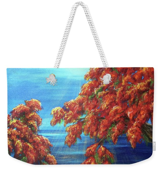 Golden Flame Tree Weekender Tote Bag