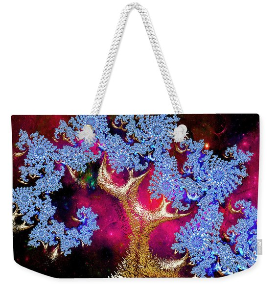 Golden Fractal Tree Weekender Tote Bag