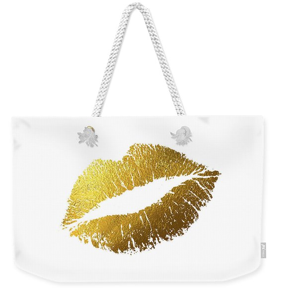 Gold Lips Weekender Tote Bag