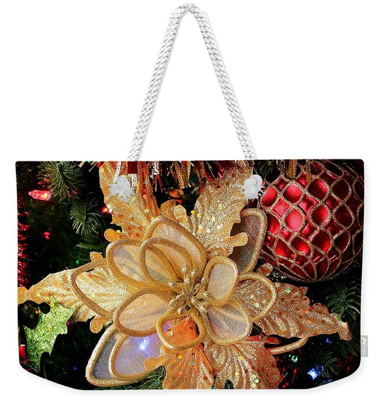 Golden Glitter Christmas Ornaments Weekender Tote Bag