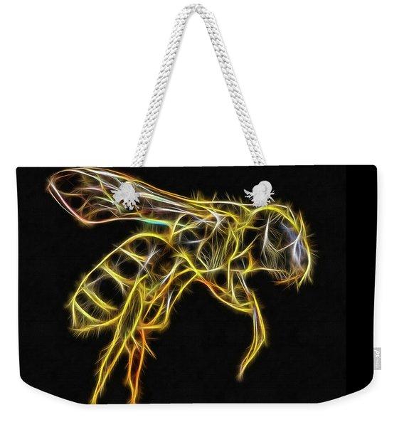 Golden Honey Bee Fractalized Weekender Tote Bag