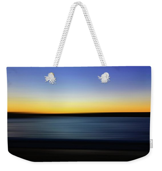Weekender Tote Bag featuring the digital art Golden Horizon by Gina Harrison
