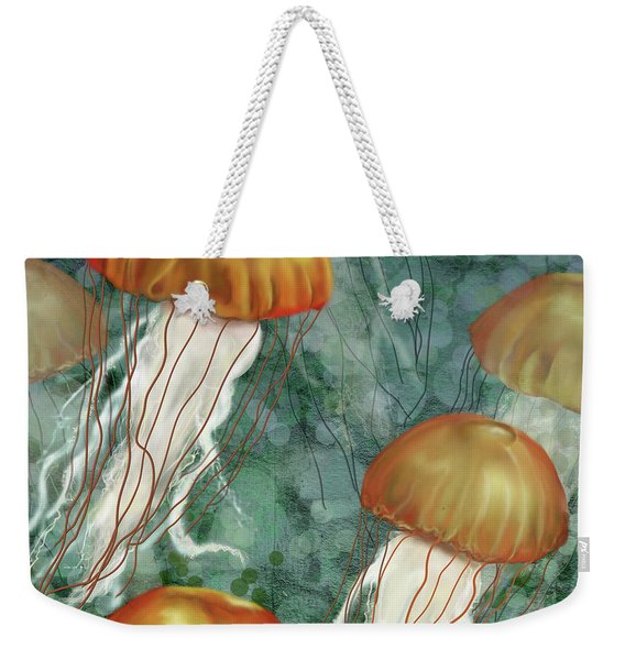 Golden Jellyfish In Green Sea Weekender Tote Bag