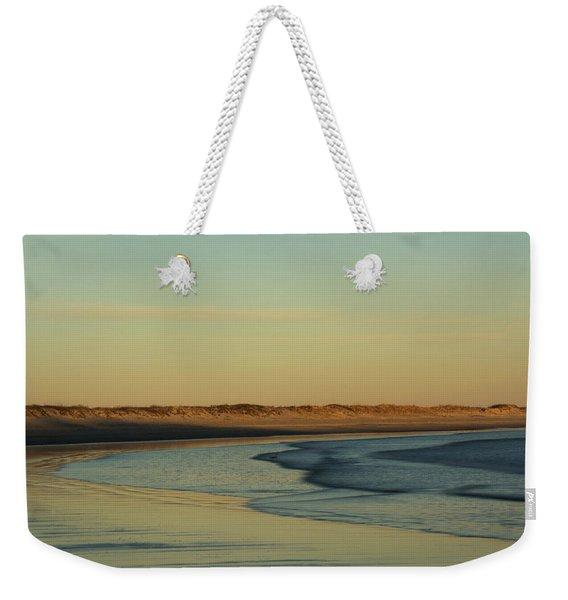 Weekender Tote Bag featuring the photograph Golden Morning On Rhode Island Coast by Nancy De Flon