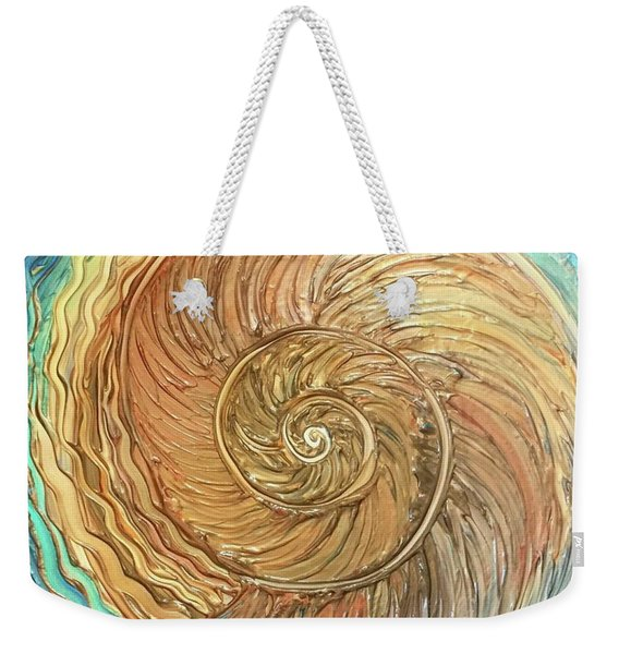 Golden Nautilus Weekender Tote Bag