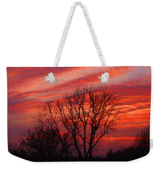 Golden Pink Sunset With Trees Weekender Tote Bag