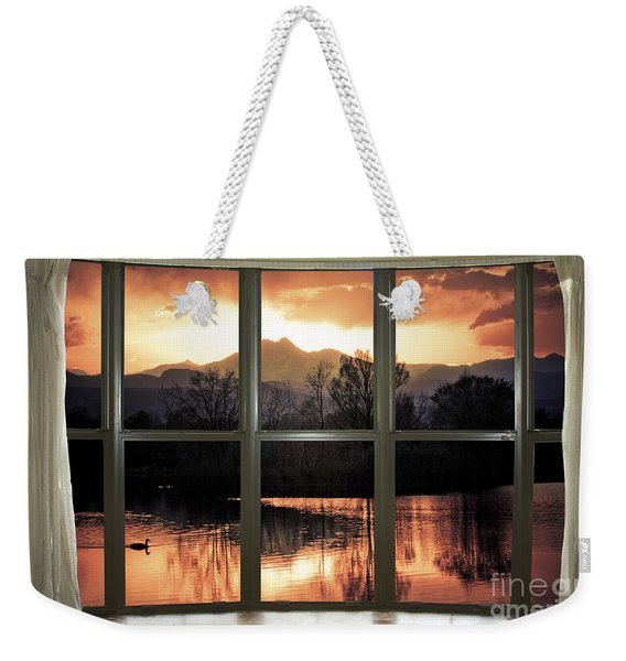 Golden Ponds Bay Window View Weekender Tote Bag