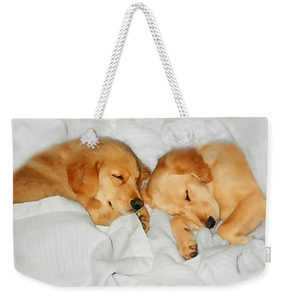Golden Retriever Dog Puppies Sleeping Weekender Tote Bag