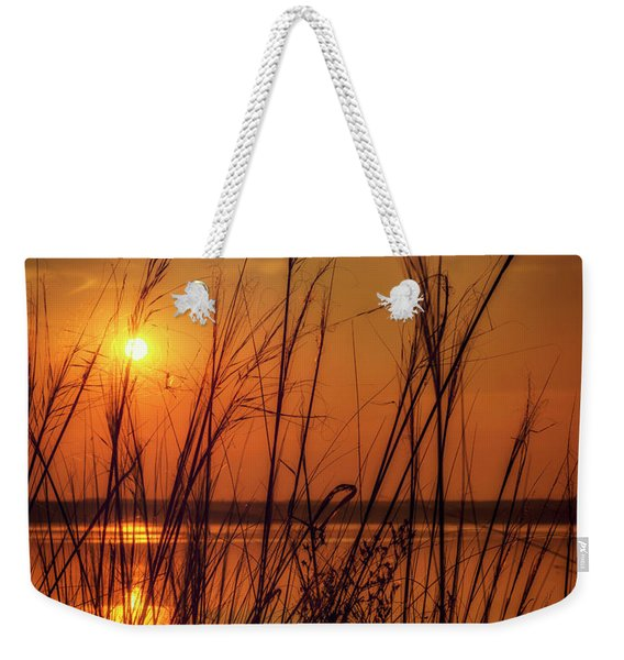 Golden Sunset At The Lake Weekender Tote Bag