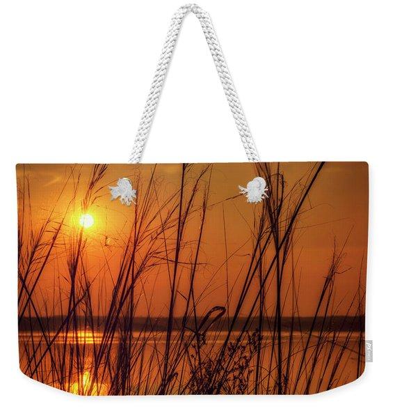 Golden Sunset At The Lake Weekender Tote Bag