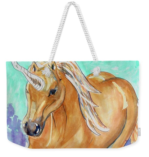 Golden Unicorn Weekender Tote Bag