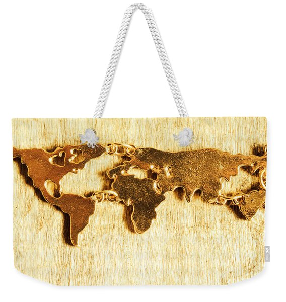 Golden World Continents Weekender Tote Bag