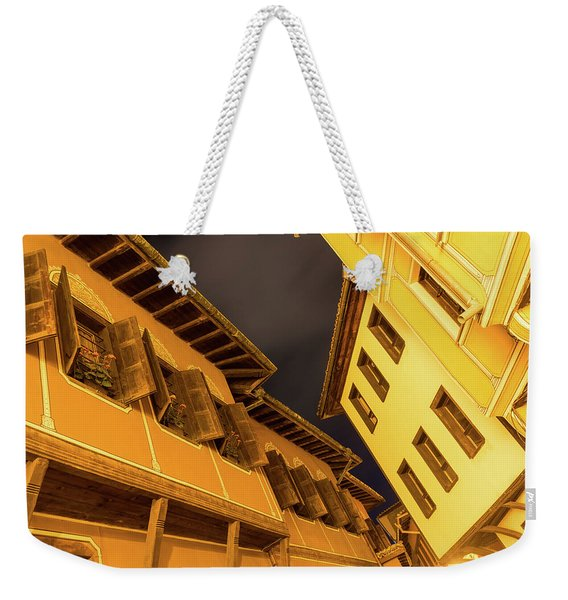 Golden Yellow Night - Chic Zigzags Of Oriel Windows And Serrated Roof Lines Weekender Tote Bag