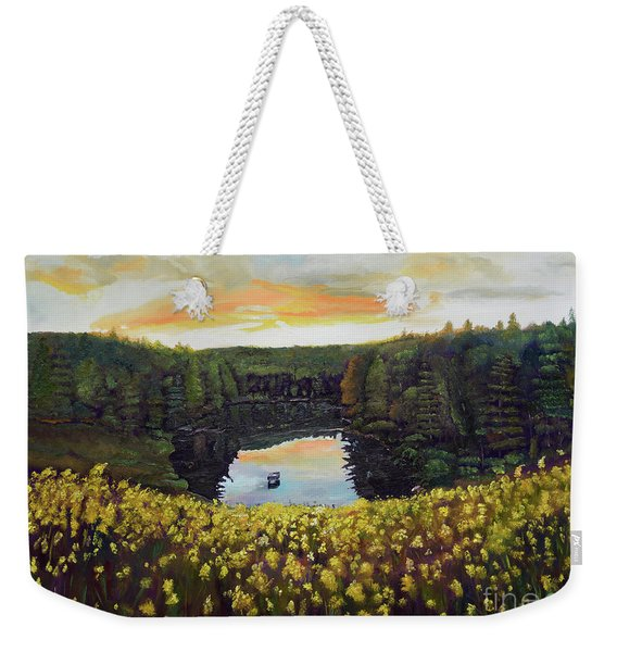 Goldenrods On Davenport Lake-ellijay, Ga  Weekender Tote Bag