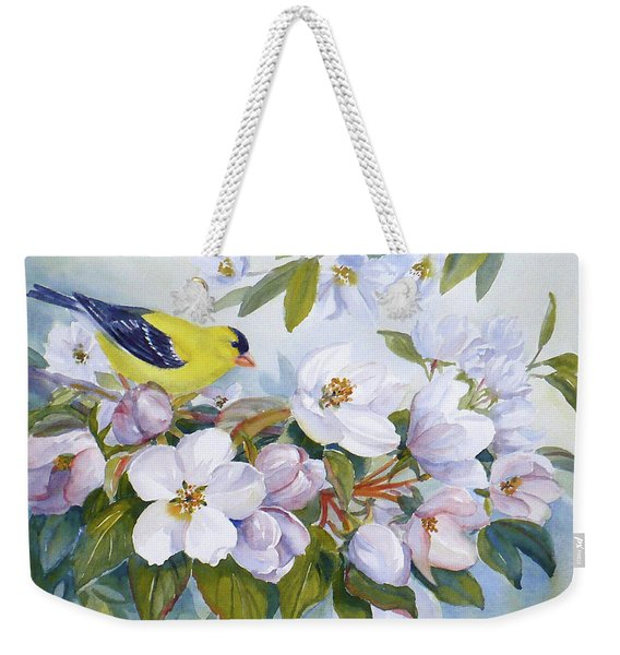 Goldfinch And Crabapple Blossoms Weekender Tote Bag