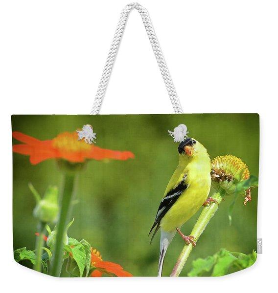 Goldfinch Feeding In A Garden Weekender Tote Bag
