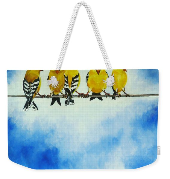 Goldfinch On A Wire Weekender Tote Bag