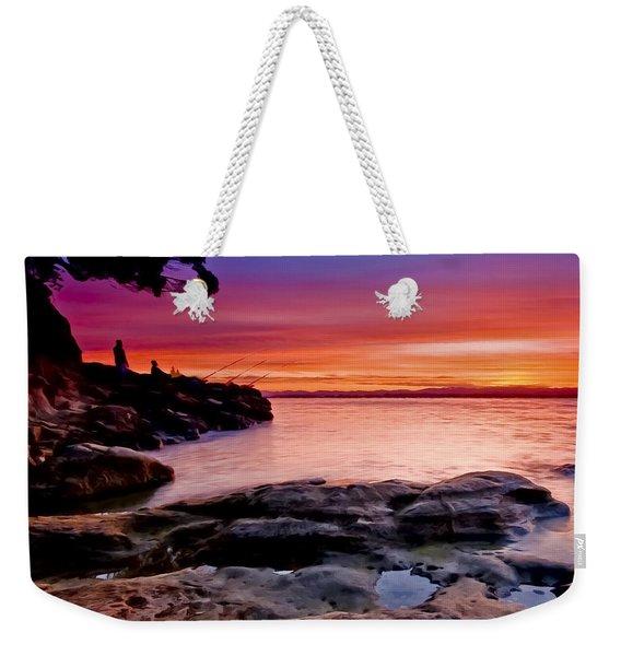 Gone Fishing At Sunset Weekender Tote Bag
