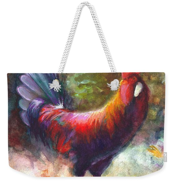 Weekender Tote Bag featuring the painting Gonzalez The Rooster by Talya Johnson