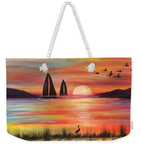 Weekender Tote Bag featuring the painting Good Eveving by Denise Tomasura