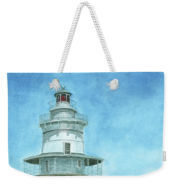 Weekender Tote Bag featuring the painting Goose Rocks Light At High Tide by Dominic White