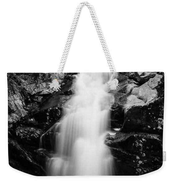 Gorge Waterfall In Black And White Weekender Tote Bag