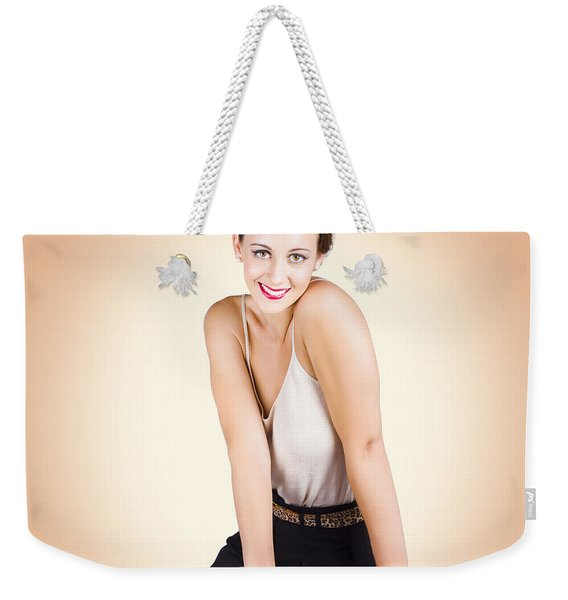Gorgeous 1950s House Wife Posing On Chair Weekender Tote Bag