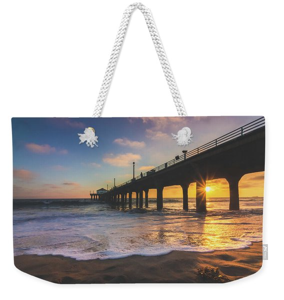 Weekender Tote Bag featuring the photograph Gorgeous Sunset At Manhattan Beach Pier by Andy Konieczny