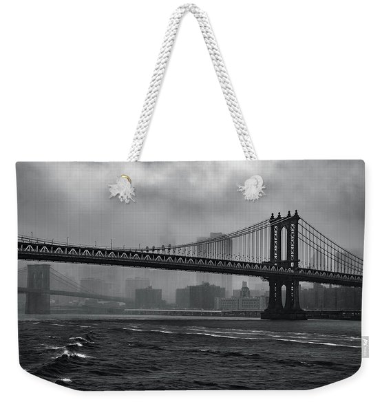 Manhattan Bridge In A Storm Weekender Tote Bag