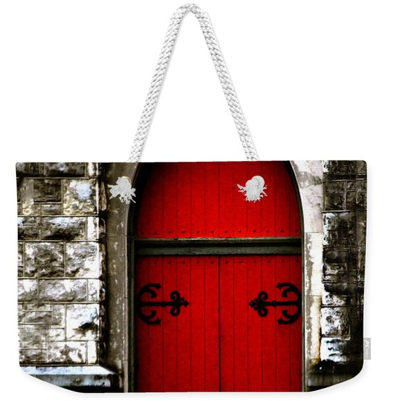 Gothic Red Door Memphis Church Weekender Tote Bag