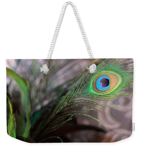 Graceful Peacock Feather Weekender Tote Bag