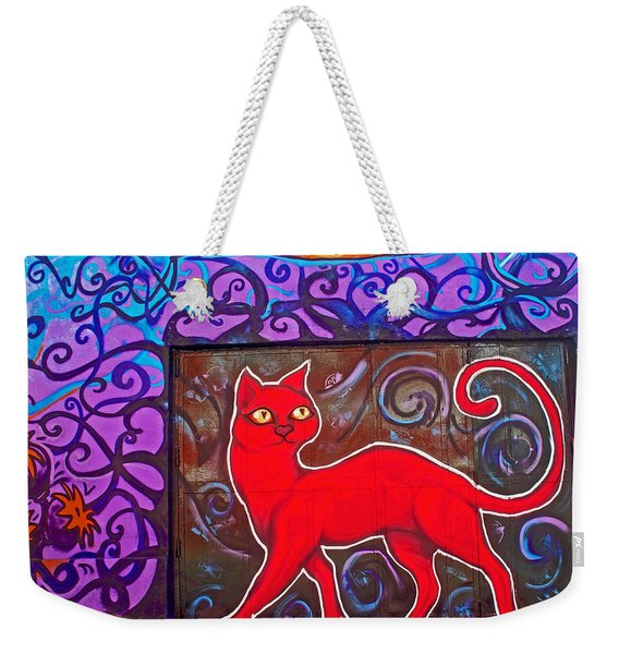 Graffiti Art Of Red Cat In Valparaiso-chile  Weekender Tote Bag
