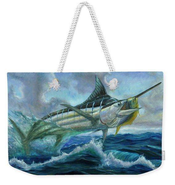 Grand Blue Marlin Jumping Eating Mahi Mahi Weekender Tote Bag