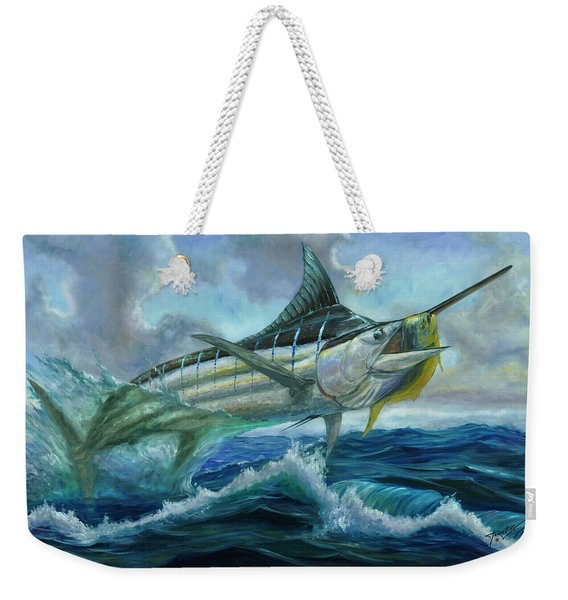 Grand Blue Marlin Jumping Eating Mahi Mahi Weekender Tote Bag