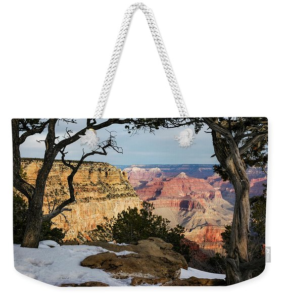 Weekender Tote Bag featuring the photograph Grand Canyon At Sunrise by Mary Lee Dereske