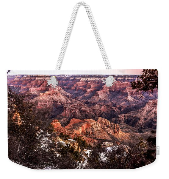 Grand Canyon Winter Sunrise Landscape At Yaki Point Weekender Tote Bag