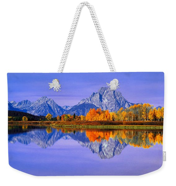 Grand Tetons And Reflection In Grand Weekender Tote Bag