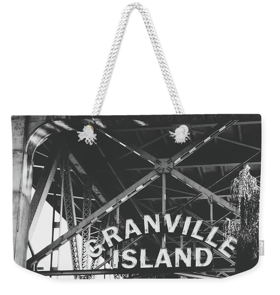 Granville Island Bridge Black And White- By Linda Woods Weekender Tote Bag